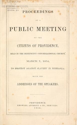 Proceedings of a public meeting of the citizens of Providence